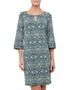 Laundry by Shelli Segal Bell-Sleeve Mixed-Print Shift Dress, Crisp Apple