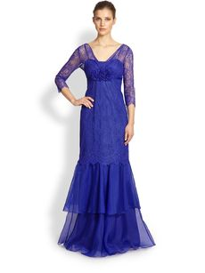 Teri Jon Lace V-Neck Gown