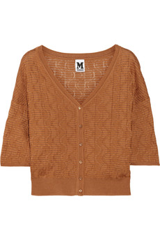 M Missoni Textured knitted cotton-blend cardigan