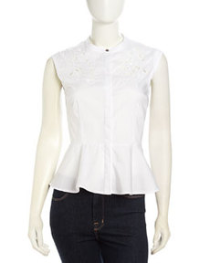 Laundry by Shelli Segal Embroidered Cutout Peplum Top, Optic White