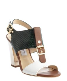 Jimmy Choo green and white embossed snake 'Marana' t-strap sandals