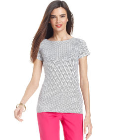 Jones New York Signature Petite Short-Sleeve Polka-Dot Boat-Neck Tee