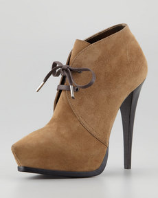 Lanvin Suede Pointed Lace-Up Bootie, Kaki Clair