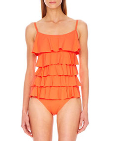 Scoop-Neck Ruffled Maillot   Scoop-Neck Ruffled Maillot