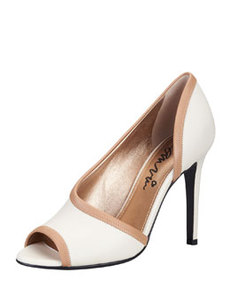 Peep-Toe d'Orsay Pump, White/Tan   Peep-Toe d'Orsay Pump, White/Tan