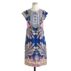 Collection lace-up dress in mixed prints