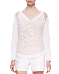 V-Neck Sweater with Cold Shoulders   V-Neck Sweater with Cold Shoulders