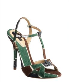 Dolce & Gabbana green brown and white coated canvas heeled t-strap sandals