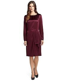 Long-Sleeve Silk Wrap Dress