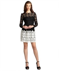 A.B.S. by Allen Schwartz black and ivory lace sheer yoke long sleeve dress