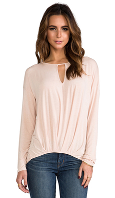 Michael Stars Long Sleeve Keyhole Top in Blush