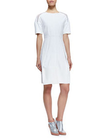 Poplin Mesh-Inset Short-Sleeve Dress, White   Poplin Mesh-Inset Short-Sleeve Dress, White