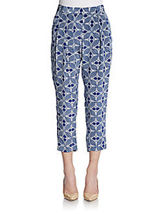Nieves Lavi Cropped Silk Print Pants