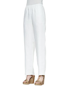 Go Silk Black Straight-Leg Linen Pants, Women's