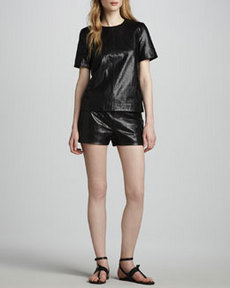 J Brand Ready to Wear Tullia Snake-Print Leather Shorts