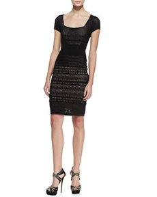 Cheryl Pointelle Shift Dress, Black   Cheryl Pointelle Shift Dress, Black