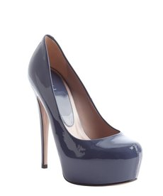 Gucci cobalt patent leather platform pumps