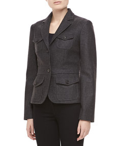 Michael Kors Felted Melange Wool Jacket, Charcoal