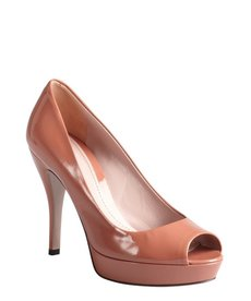 Gucci desert rose patent leather peep toe platform pumps
