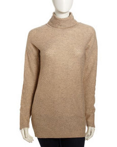 Joie Rubena Wool-Cashmere Honeycomb Sweater, Heather Oatmeal