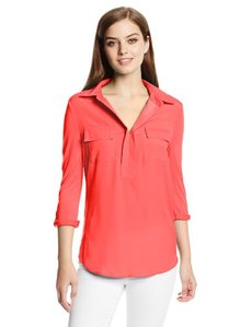 Kensie Women's Three-Quarter Sleeve Henley Top