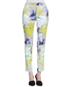 Caroline Watercolor-Print Slim Pants   Caroline Watercolor-Print Slim Pants