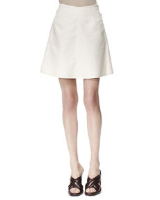 Letizia Cotton Pique Skirt, White   Letizia Cotton Pique Skirt, White