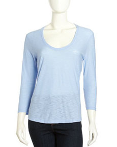 James Perse Soft V-Neck Slub Tee, Lavender