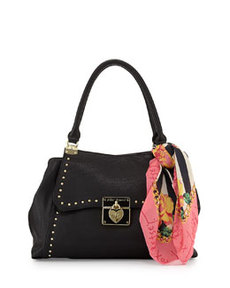 Betsey Johnson Wrap Party Studded PVC Satchel, Black