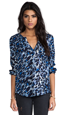Joie Deon Animal Print Blouse in Navy
