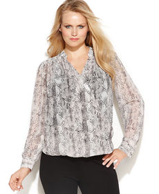 INC International Concepts Plus Size Snakeskin-Print Surplice Blouse