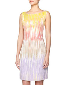 Lafayette 148 New York Sleeveless Jacquard Printed Dress, Delphinium