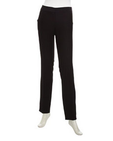 Laundry by Shelli Segal Satin-Trim Tuxedo Pants, Black