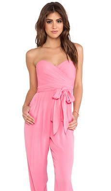 Catherine Malandrino Strapless Jumpsuit in Pink
