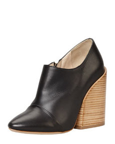 Wide-Heeled Pointy Bootie, Black   Wide-Heeled Pointy Bootie, Black