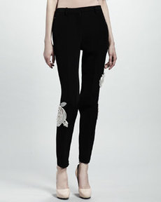 Lanvin Rose Applique Pants, Black