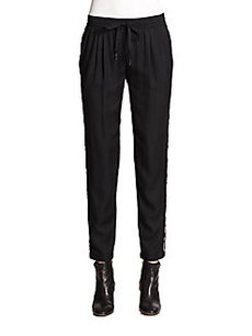 Joie Printed Piping-Trimmed Silk-Blend Track Pants