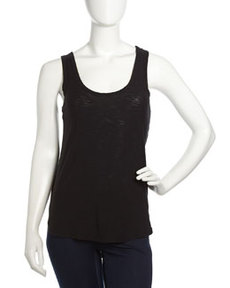 James Perse Curved-Hem Slub Tank, Black