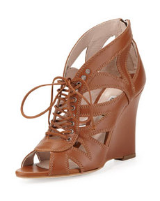 Lace-Up Leather Wedge Sandal, Tan   Lace-Up Leather Wedge Sandal, Tan