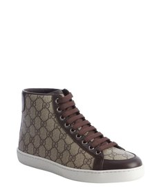 Gucci brown GG canvas lace-up hi-top sneakers
