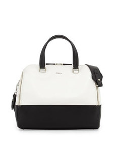 Furla Amalfi Colorblock Dome Bag, Onyx/White