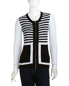 Isda & Co Striped Zip-Front Cardigan, Black/White