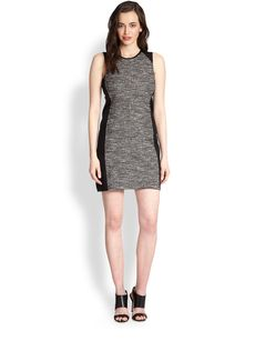 Eileen Fisher Tweed Contrast-Panel Dress