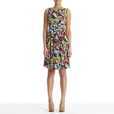 Sleeveless Floral Dress with Belt