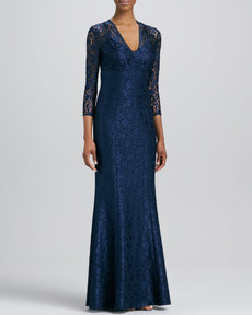 Kay Unger New York V-Neck Lace Bust Gown