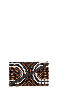 Nanette Lepore Wooden Beaded Clutch in Black