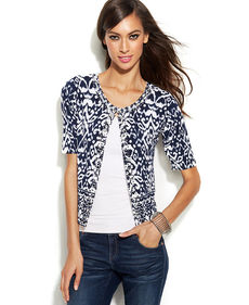 INC International Concepts Rhinestone-Embellished Printed Cardigan