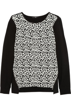 Tibi Stretch-jersey and leopard-jacquard sweater