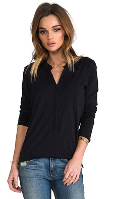 Michael Stars Long Sleeve Henley in Black