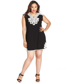 Alfani Plus Size Sleeveless Crochet-Trim Dress
